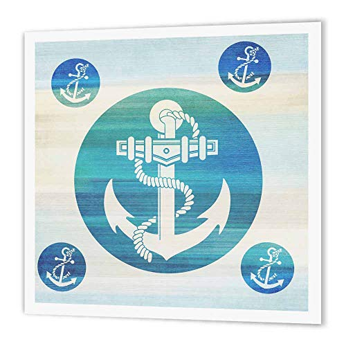 3dRose ht_152106_1 Anchor in Aqua Circles Nautical Beach Theme Art Iron on Heat Transfer for White Material, 8 by 8-Inch