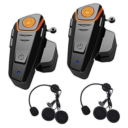 Qinaurora BT-S2 1000m Bluetooth Headset Waterproof BT Motorcycle Motorbike Helmet Intercom Interphone Headset,Walkie Talkie GPS Hands Free MP3 Player FM Radio for 2 or 3 riders