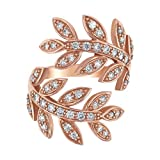 14k Rose Gold Diamond Leaf Bypass Ring (0.65 cttw, I1 ClarIty, H-I Color)