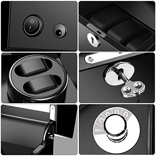 Watch Winder for 5 Watch, Wooden Shell, Piano Paint, Powered by Japanese Motor, Fit for All Size of Automatic Watches, Suitable for Bedroom (Black) by TRIPLE TREE (Image #3)