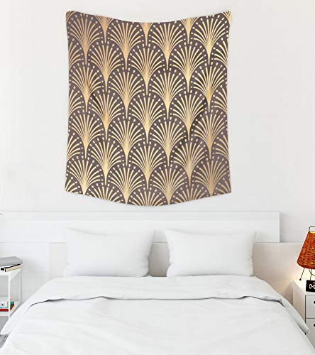 Jacrane Wall Hanging Tapestries with 50x60 Inches Art Pattern Golden Background Minimalistic Geometric Line Motifs Luxury Vintage 1920 30s Easter Art Tapestry for Dorm Bedroom Living Room Home Decor -