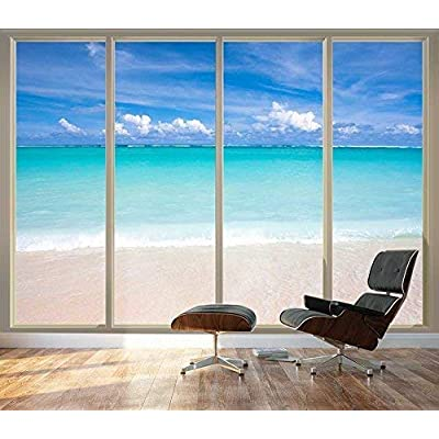 Pretty Design, Large Wall Mural Tropical Beach Seen Through Sliding Glass Doors 3D Visual Effect Vinyl Wallpaper Removable Decorating, Quality Creation