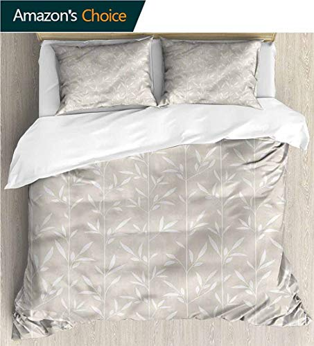 Cream Vertical Stripe - Bedding Sets Duvet Cover Set,Box Stitched,Soft,Breathable,Hypoallergenic,Fade Resistant Bedspreads Beach Theme Quilt Cover Children Comforter Cover-Cream Vertical Stripes Stems Leaves (90