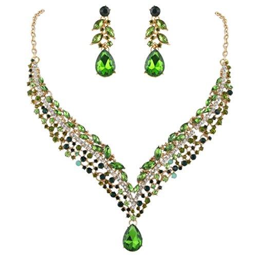 (EVER FAITH Women's Austrian Crystal Decorative Leaf Teardrop Necklace Earrings Set Green Gold-Tone)