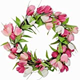 SPRING EASTER WREATH~PINK & WHITE TULIPS~DOOR WREATH DECORATION~NEW~ Review