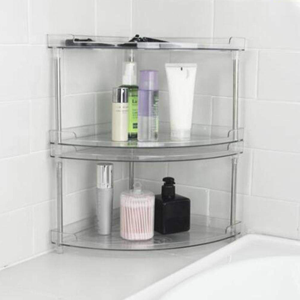 Bathroom Shelves PET Stainless Steel 2 Layer Transparent Environmental Protection Storage Rack for Kitchen Bathroom Weight 650g by Whewer