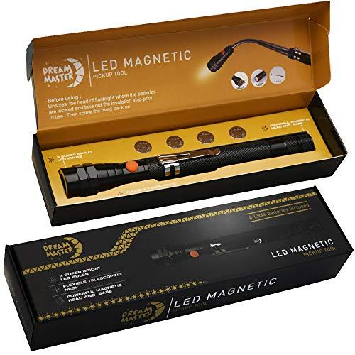 DREAM MASTER Magnet 3 LED Magnetic Pickup tool,Unique Christmas Gift for Men, DIY Handyman, Father/Dad, Husband, Boyfriend, Him, Women, 4 x LR44 Batteries (Includes 4 spare batteries) 1Pack (Christmas Unique)