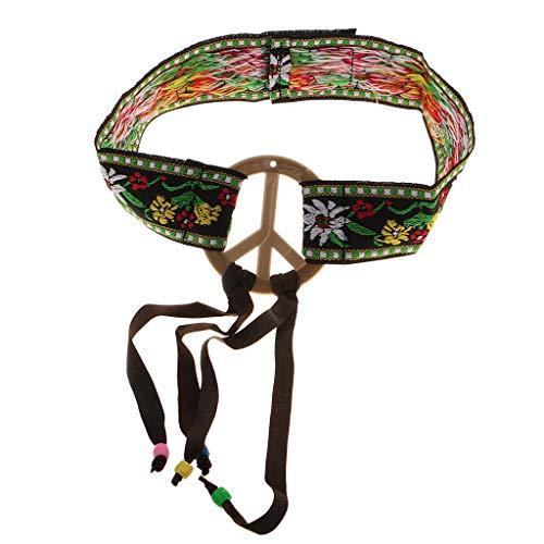 Fashion Flower Embroidery 60s Hippy Headband Peace Sign Boho Western Indian ()