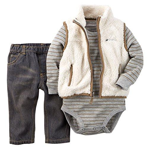 Carter's Baby Boys 3-piece Sherpa Vest Set Grey/ivory Stripe Denim