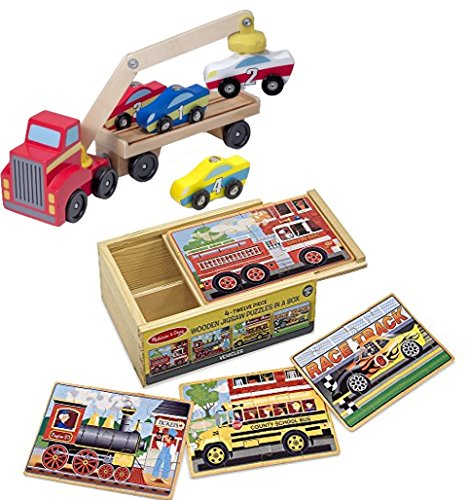 Bundle Includes 2 Items - Melissa & Doug Magnetic Car Loader Wooden Toy Set With 4 Cars and 1 Semi-Trailer Truck and Melissa & Doug Vehicles 4-in1 Wooden Jigsaw Puzzles in a Storage Box 48 pcs
