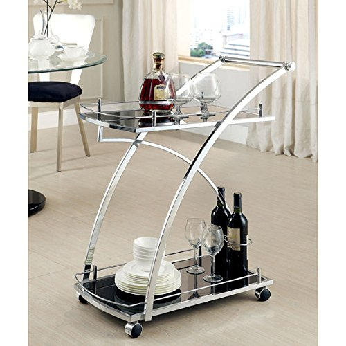 Furniture of America Erwynn Contemporary Chrome 2-Shelf Serving Cart (Origami Rolling Trolley Table compare prices)