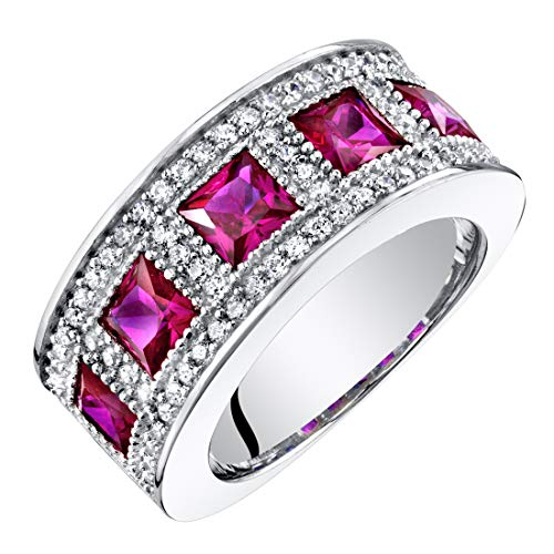 - Sterling Silver Princess Cut Created Ruby Anniversary Ring Band Wide Width 2 Carats Size 8