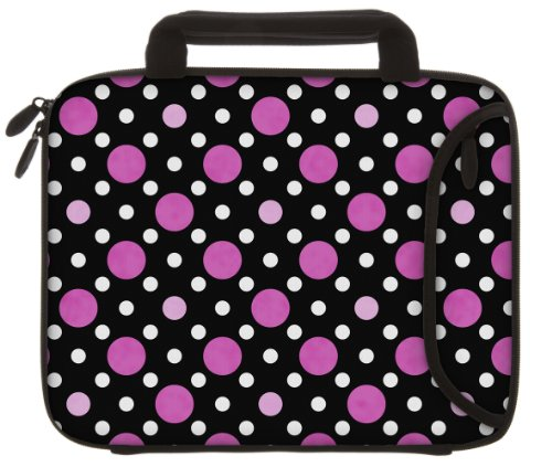 designer-sleeves-89-inch-to-10-inch-polka-dots-tablet-sleeve-ipad-sleeve-with-handles-black-pink-whi