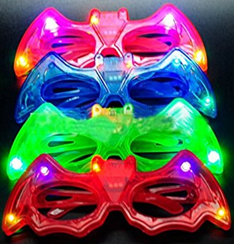 BEST PARTY FAVORS OF 2016! 12 Piece Batman Light Up Flashing Glasses For Children (4 Colors: Red, Green, Blue, & Pink)- With Push On/Off Button for All Occasions (Disneyland Halloween Party Music)