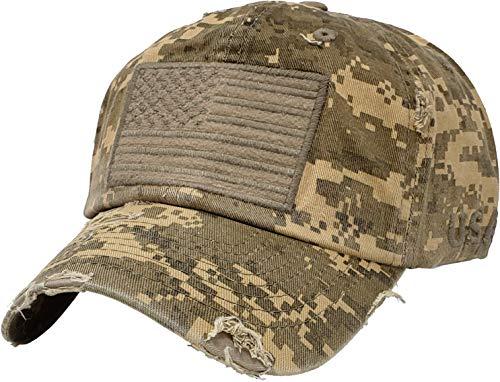 BHM-205-AF-DD84 Mens Baseball Cap - American Flag - Digital Desert Camo ()