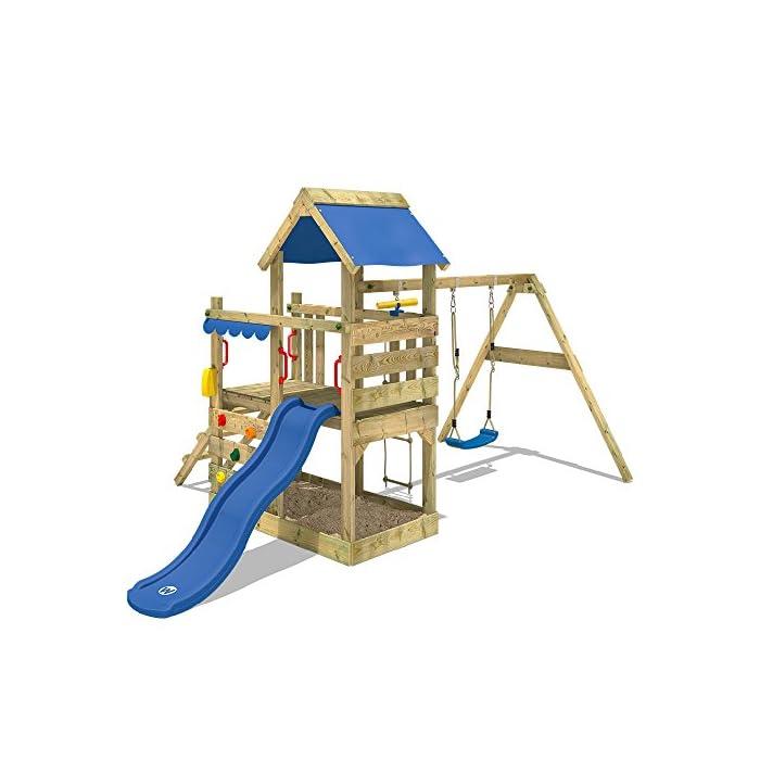 51 5E3gUfpL WICKEY Torre de escalade con columpio y tobogán - Calidad y seguridad aprobada - Varias opciones de montaje Madera maciza impregnada a presión - Poste 9x4,5cm - Poste de columpio 9x9cm - Cajón de arena integrado Instrucciones de montaje detalladas - Muro para trepar - Todos los tornillos necesarios - Toldo