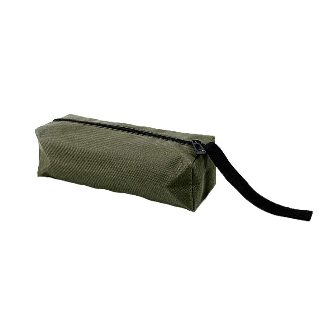 Clearance SaleQuaanti Canvas Zipper Bag,Heavy Duty Tool Pouch Tote Bags, Multi-Purpose Tools Organize Storage for Men Electricians Carpenters (Army Green)
