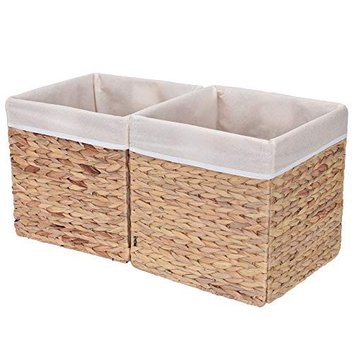 StorageWorks Rectangular Wicker Storage Baskets, Water Hyacinth Basket with Lining, Large Baskets for Cube Storage, 11.8