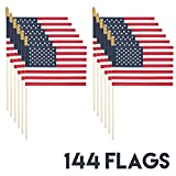 Cheap US Flagmaker Proudly MADE IN U.S.A. Small American Flags 4×6 Inch/Small US Flag/Mini American Stick Flag/American Hand Held Stick Flags Spear Top (144)