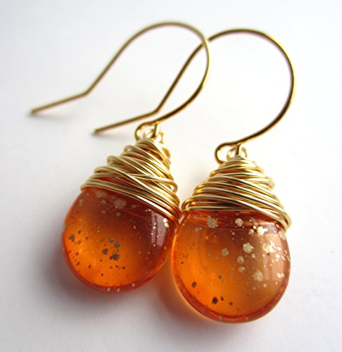 (Orange Earrings Gold Tone Wire Wrapped Czech Glass Earrings)