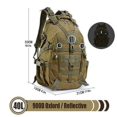 LHI Tactical Backpack 900D with Reflector 40L for Daily Use Outdoor Activities