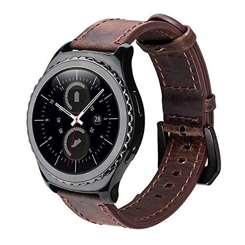 Gear S2 Classic Leather Band, iBazal Vintage Gear S2 Classic Band with Black Clasp Genuine Leather Strap Replacement Band for Samsung Gear S2 Classic Smart Watch SM-R732 - Coffee + Black