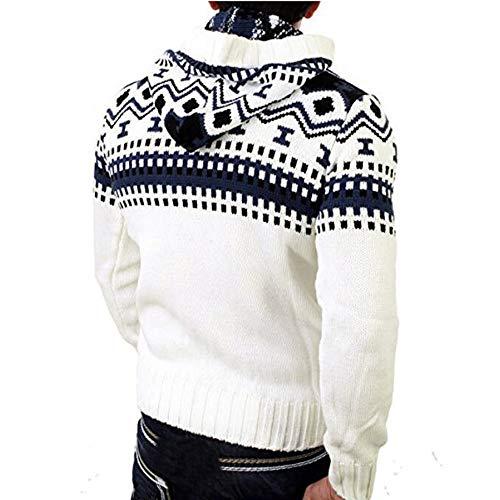 Outwear Kobay Maglia Autunno Cardigan Pullover Maglione Cappotto Bianco Maschile A Inverno Incappucciato zqrwUOaz