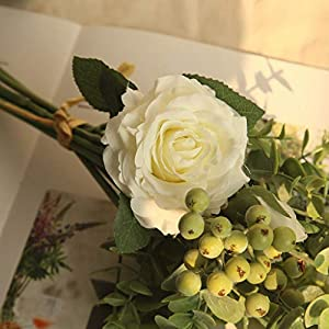 Youmymind Artificial Flowers Real Looking Rose Hydrangea Flowers for DIY Wedding Bouquets Centerpieces Bridal Wedding Party Home Decoration (White) 35