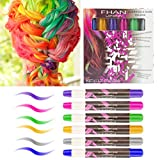 Hair Chalk Pens, Amariver 6 Pack Colorful Metallic Glitter Temporary Hair Chalk Pens Edge Chalkers for Girls, Christmas, Cosplay, Party, Works on All Hair Colors
