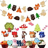 SAKOLLA Woodland Theme Party Decoration Set - Forest Animal Banner and Cupcake Toppers for Baby Shower Birthday Party Cake Decoration (24 pcs Toppers + 2 Set Banners)