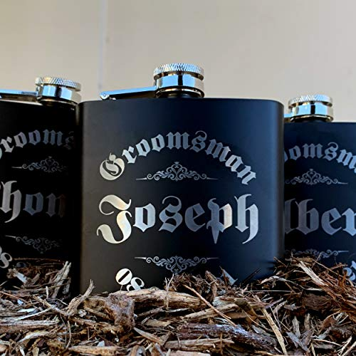 Personalizedgiftland Personalized Flask, Set Of 6 - Customized Flask Groomsmen Gifts For Wedding Favors, Personalized Groomsman gift - Stainless Steel Engraves Flasks w Gift Box Options - 6oz, Black by PersonalizedGiftLand (Image #7)
