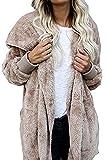 Women Fashion Fleece Sherpa Jacket Hooded Coat with Pocket Winter Warm Outwear Khiki by Fantasy Star (US 12-14)L