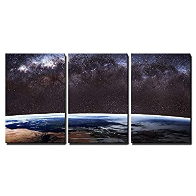 3 Piece Canvas Wall Art Earth Image. - Modern Home Art Stretched and Framed Ready to Hang - 16