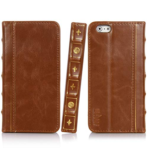 E LV iPhone 6S Case, iPhone 6 Case Cover - PU Leather Book Style Wallet Flip Slim Case Cover for iPhone 6S / iPhone 6 with 1 Stylus and 1 Screen Protector - Brown (Iphone 6 Case Book)