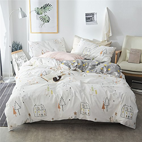 VClife Kids 3 pcs Bedding Sets Pink White Cotton Kids Duvet Cover Sets Moon Stars Home Textile/Bedding Collections Reversible Quilts Cover Sets without Comforter, Zipper Closure Corner Ties by, Twin