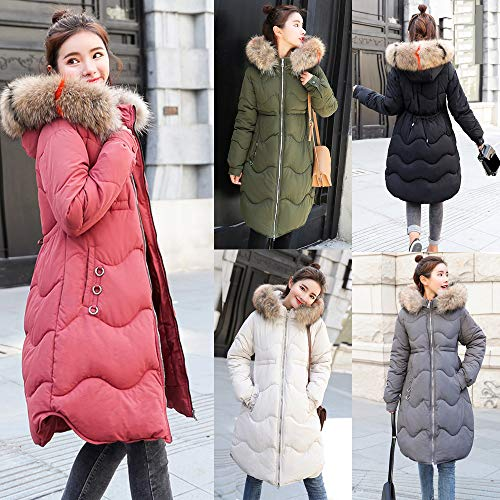 b73ae490d ESAILQ Women Outerwear Button Coat Long Cotton-Padded Jackets Pocket ...