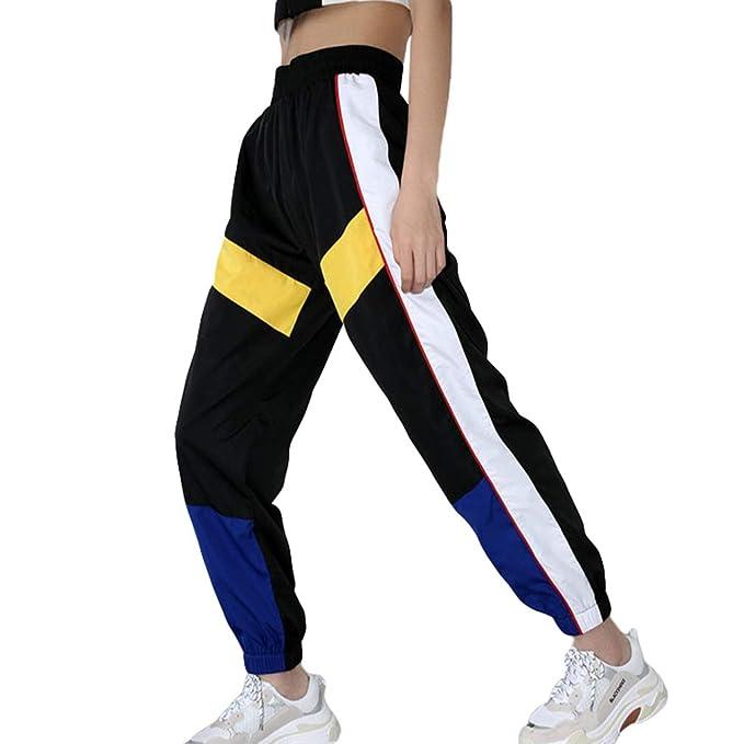 d101b0b3c85cf Mujer Pantalones Harajuku Hip Hop Streetwear Pantalones Estilo Callejero  Empalmados Pantalones Deportivos De Cintura Alta S-3XL  Amazon.es  Ropa y  ...