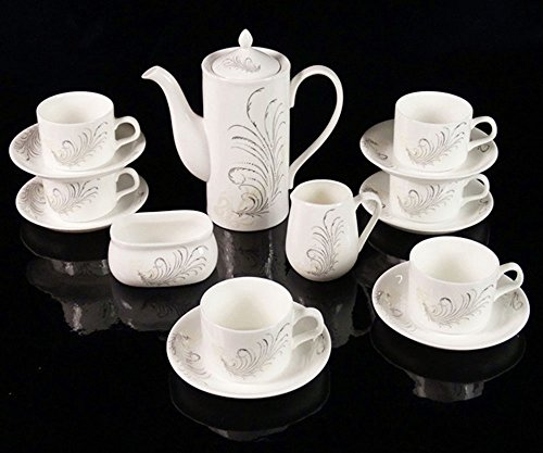 ufengke 15 Piece Silver Ornament Coffee Cup Sets, Bone China Ceramic Tea Sets With Saucer, For Wedding Gift, Silver Hand-Painted Flowers ()
