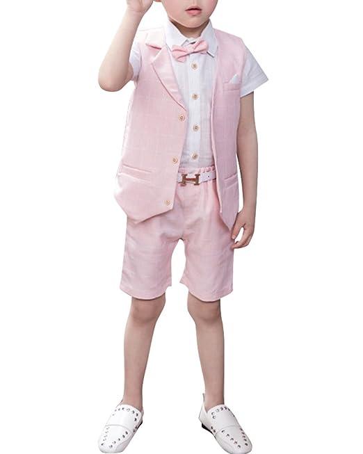 Quge Completo Bambino Ragazzo Vestiti Gilet + Pantaloncini + Camicia Compleanno  Vestito 3 Pezzi  Amazon.it  Abbigliamento c25e9c3d36f
