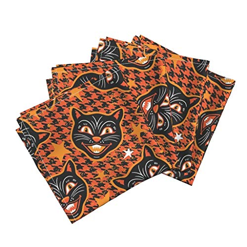 Roostery Scary Cats Organic Sateen Dinner Napkins Vintage Halloween Orange Vintage Halloween Orange and Black Black Cat Houndstooth Halloween Cat by Mariafaithgarcia Set of 4 Dinner Napkins]()