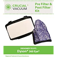 Replacement for Dyson Pre Filter & Post Filter Fits 360 Eye Robo Robotic Vacuum, Washable & Reusable, by Think Crucial