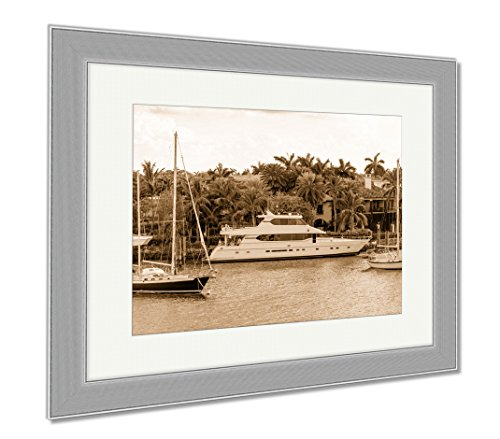Ashley Framed Prints Fort Lauderdale Canals In Las Olas Boulevard Florida USA, Wall Art Home Decoration, Sepia, 34x40 (frame size), Silver Frame, - Las In Lauderdale Olas Fort