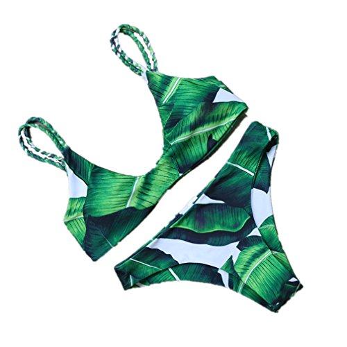 Sweetwill Trajes de baño Push Up Bandage Bikini One Piece Traje de baño bikini para mujer Verde