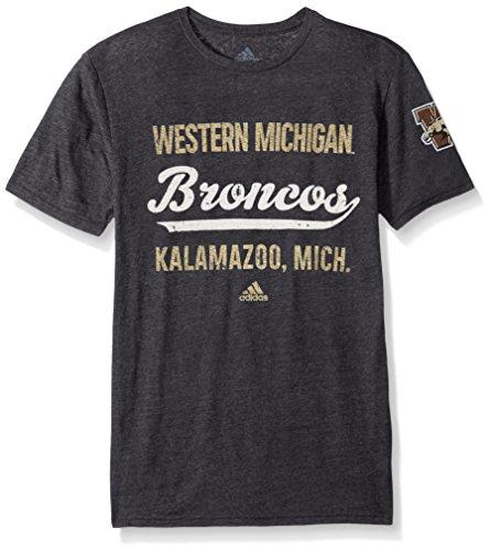 (adidas NCAA Western Michigan Broncos Men's Stenciled Sweep Tri-Blend Short Sleeve Tee, Medium, Black Heathered)