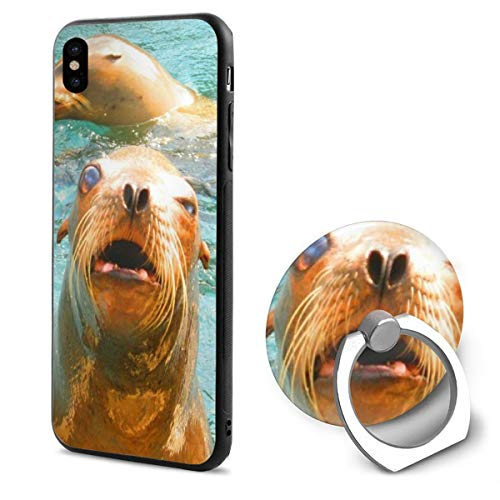 Barton Apple iPhone Xs Case/iPhone X Case + Finger Ring Stand Holder 360 Degree Rotating Combo Set - Cute Seal Sea Lion Print