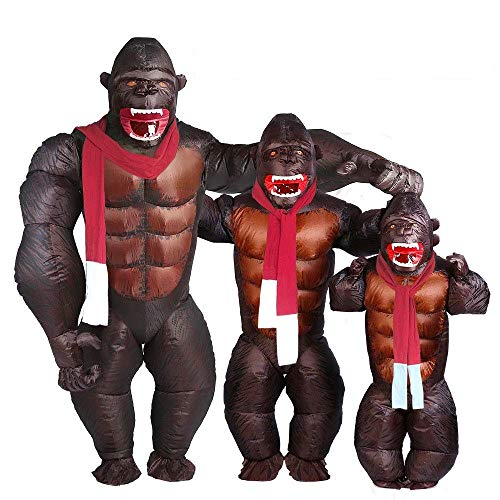Adult Gorilla Inflatable Costume - Halloween Inflatable Costume Orangutan Gibbon Chimp Monkey Fancy Dress Blow Up Suit (Gorilla) -