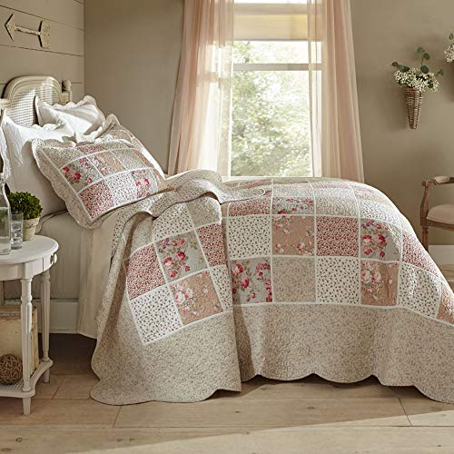 - BrylaneHome Isabella Floral Printed Patchwork Bedspread - Floral Multi, Full