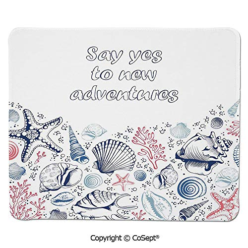 (Premium-Textured Mouse pad,Underwater Marine Wildlife Theme Seashells Corals and Starfishes,for Computer,Laptop,Home,Office & Travel(11.81