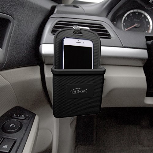 (FH Group FH3022BLACK Black Silicone Car Vent Mounted Phone Holder (Smartphone works with IPhone Plus Galaxy Note Black Color))