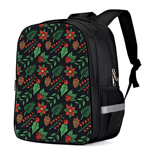 Backpack Large Capacity 3D Printed Children School Bags Kids Bookbag for Boys Girls Poinsettia Blooms Floral Holly Plants